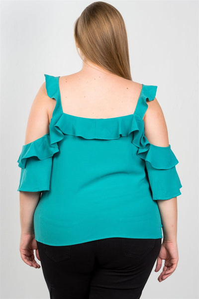 Cold shoulder ruffle zipper o-ring top
