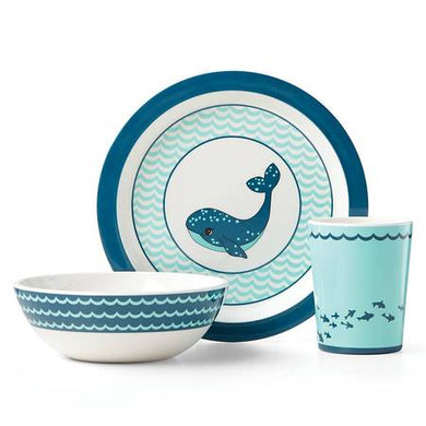Reed & Barton Mystic Whale Feeding Set, Blue