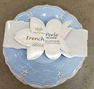 French Perle Blue Melamine Accent Plate, set of 4