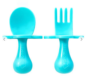 Grabease Silicone Fork & Spoon Set (Use Drop Down For Colors)