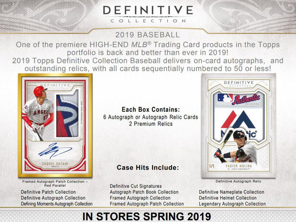 2019 Topps Definitive Baseball 3 Box Case PYT Break #4