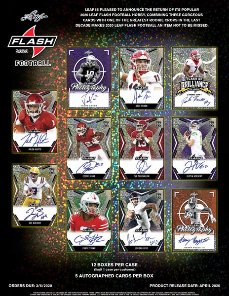 2020 Leaf Flash Football 1 Box Random Teams Break #9 - *1 Spot in 2019 NT FB Randomed to Break!*