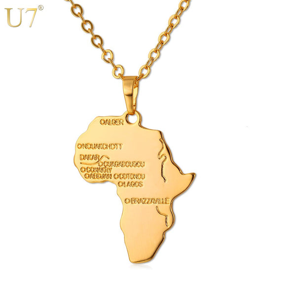 Africa Necklace Gold Color Pendant & Chain