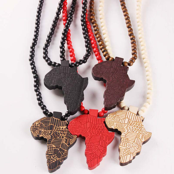 African Map Wooden Necklace