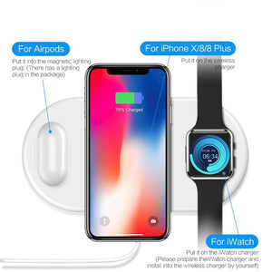 3 en 1 QI Chargeur sans fil iPhone X XR XS Max Apple watch AirPods