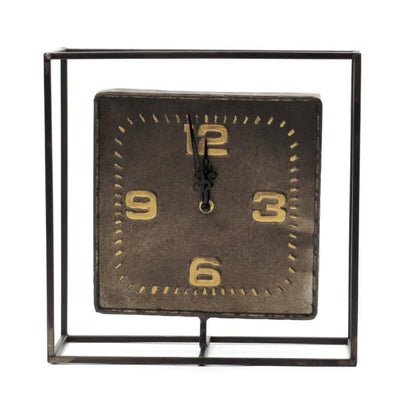 Brown metal table clock