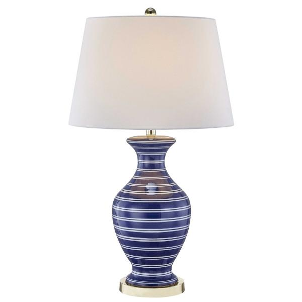 Ceramic Blue and White Striped Lamp
