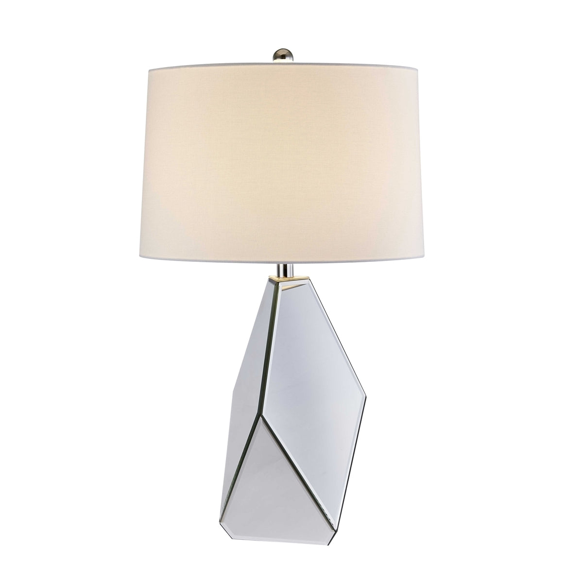 Clear Mirror Glass Table Lamp Silver