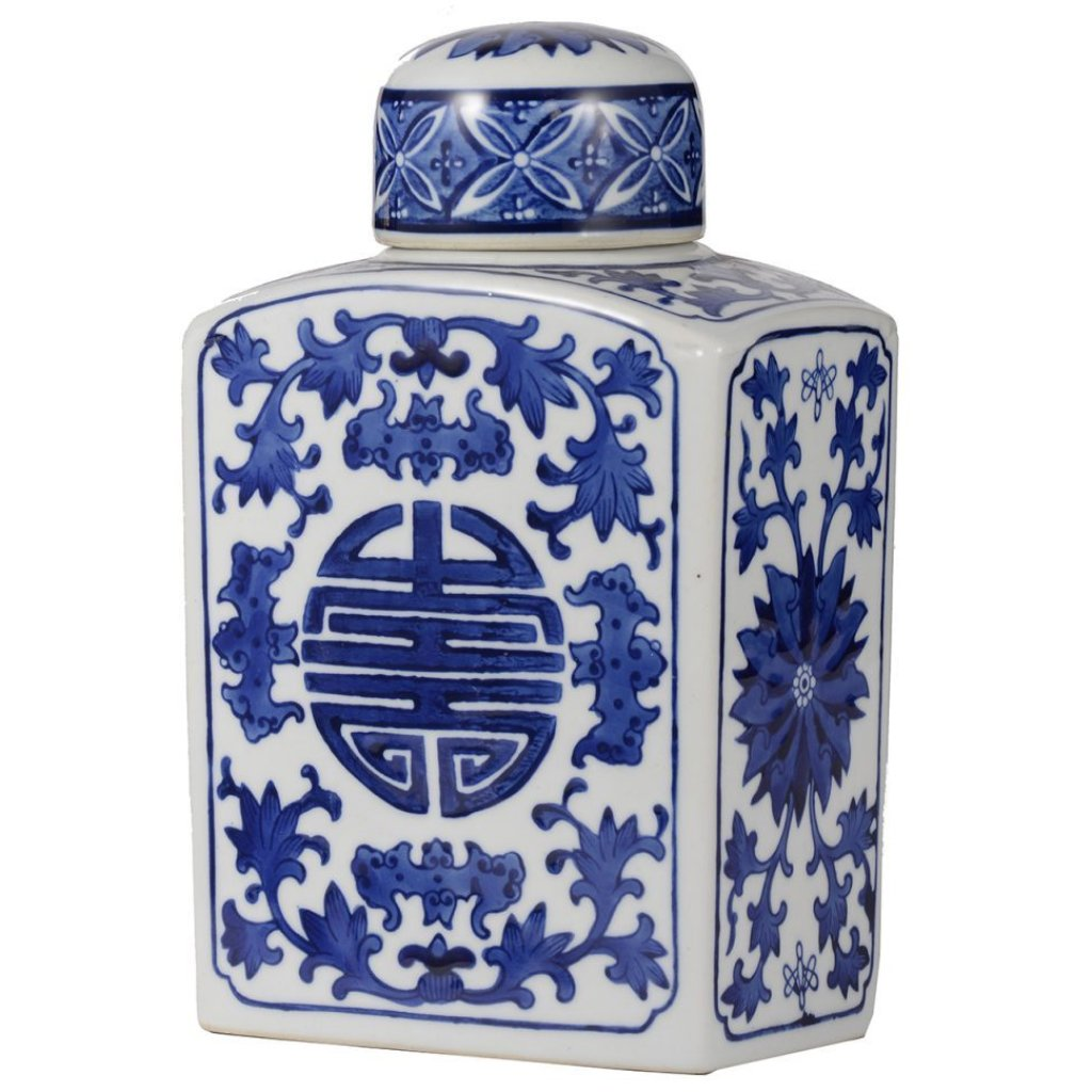 Blue and White Ceramic Chinese Jar