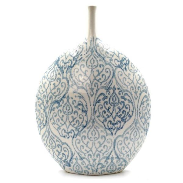 Light Blue And White Ceramic Vase
