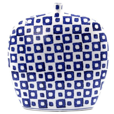 Wide Blue and White Ceramic Vase