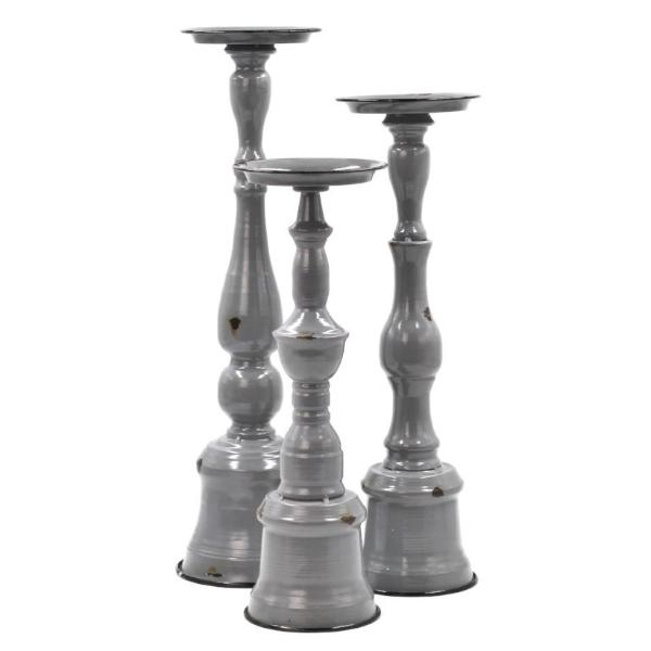 Metal Gray Candle Holder Set