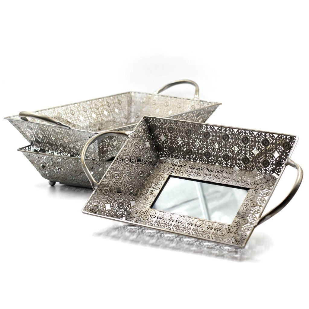 Antique Silver Mirrored Trays Complete Set