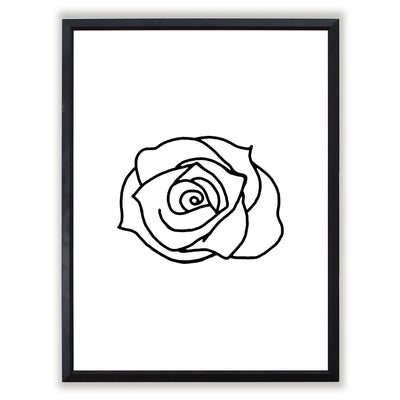 Abstract Line Art Rose Framed Art Print Comes In Multiple Sizes And Colors or Colored Frames