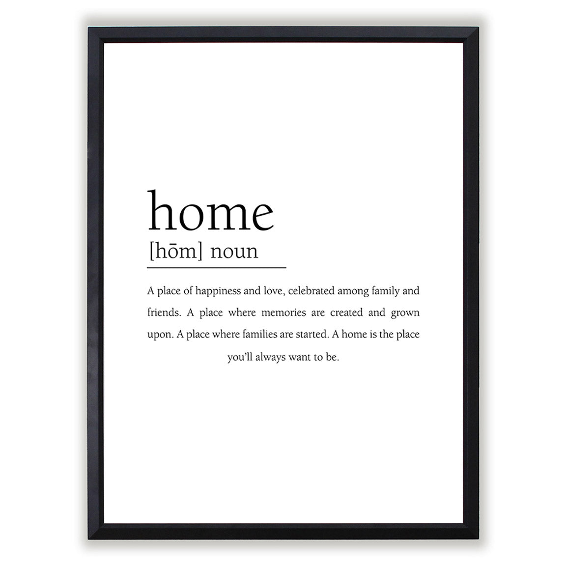 Home Definition Framed Art Print Comes In Multiple Sizes And Colors or Colored Frames