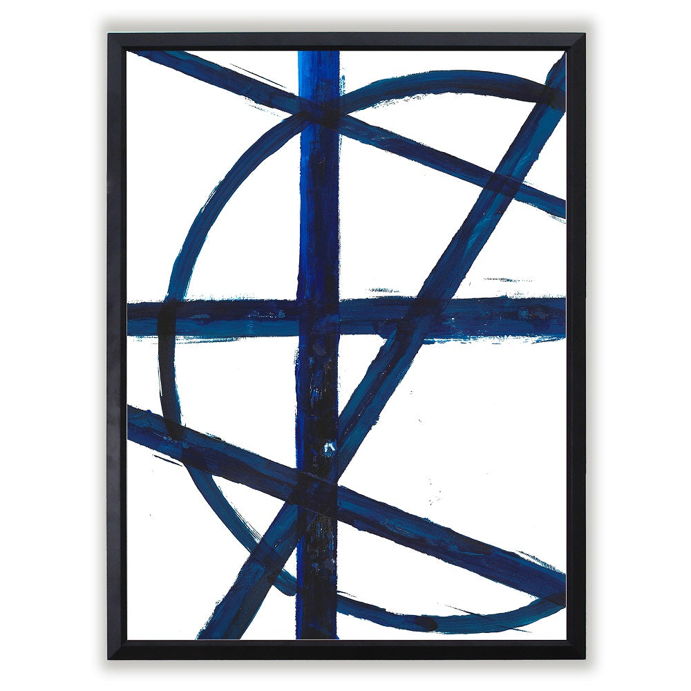 Abstract Painted Blue Line Art Framed Art Print Comes In Multiple Sizes And Colors or Colored Frames