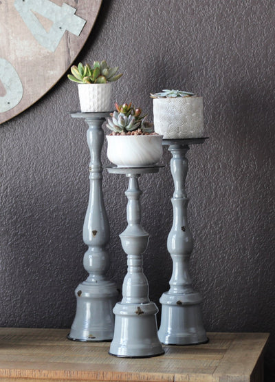 Three Tier Metal Gray Candle Holder Set