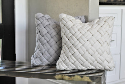 Ivory Weave Down Throw Pillow