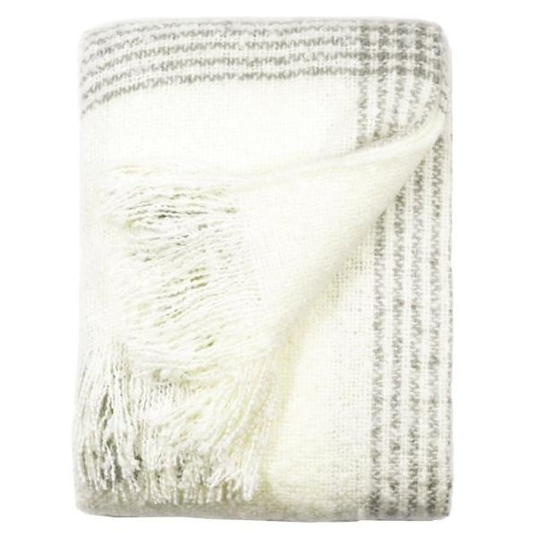 Ivory Faux Mohair Throw Blanket