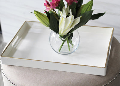 White And Gold Decorative Tray