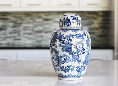 Blue and White Porcelain Floral Jar