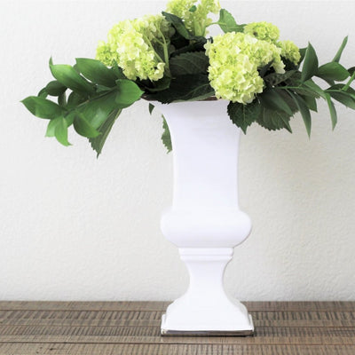 White and gold decorative urn