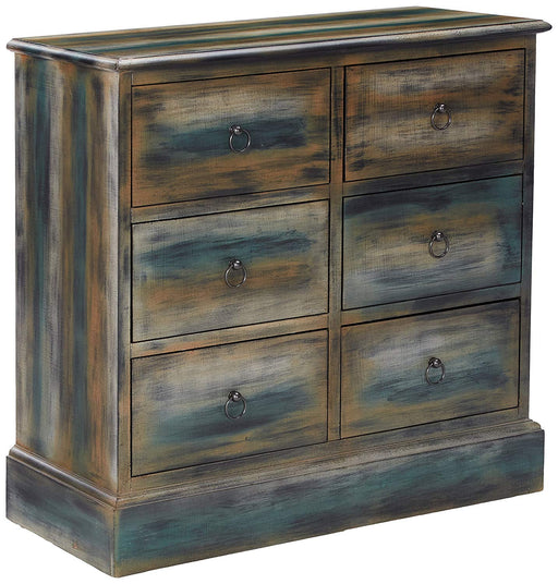 Glancio Antique Oak/Teal Hallway Table
