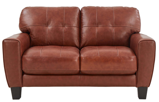 Roma Caramel Leather Loveseat