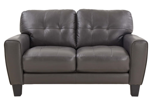 Roma Grey Leather Loveseat