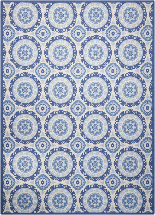 "Waverly Sun & Shade ""Solar Flair"" Navy Indoor/Outdoor by Nourison SND16"