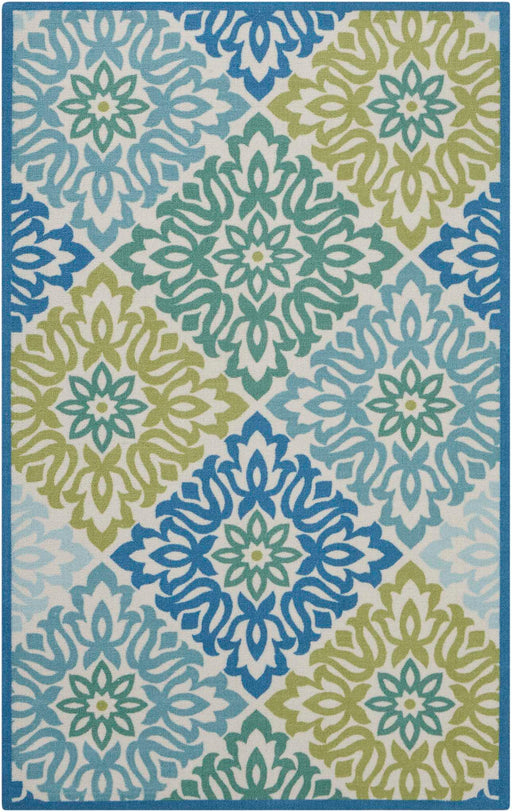 "Waverly Sun & Shade ""Sweet Things"" Blue Indoor/Outdoor by Nourison SND23"