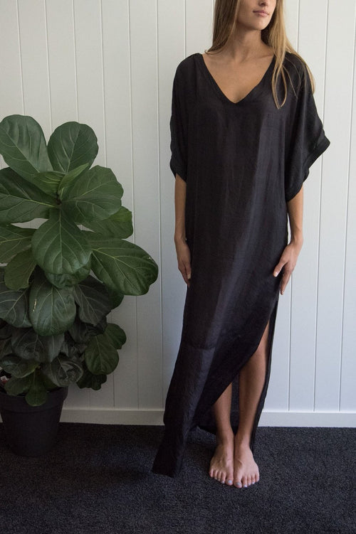 Long Black Silk Kaftan