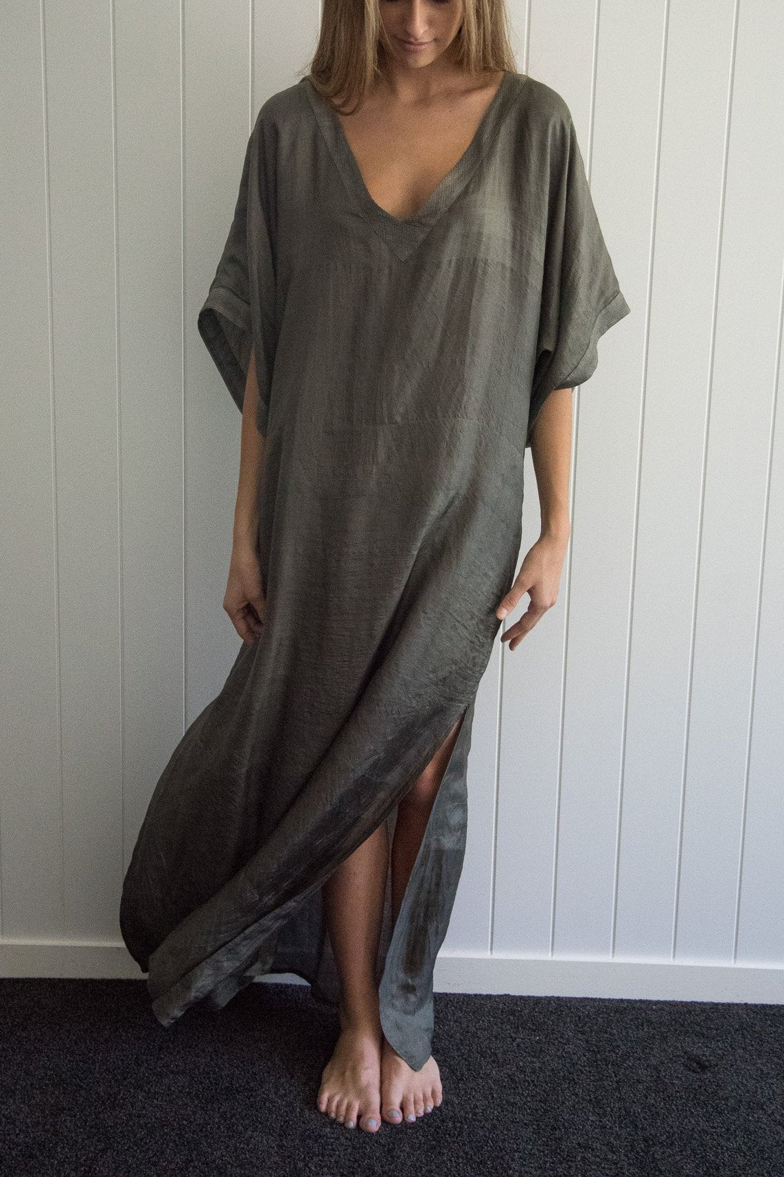 Long Khaki Silk Kaftan