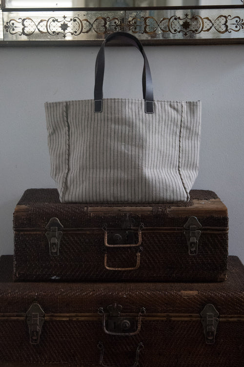 Linen Tote Striped Olive