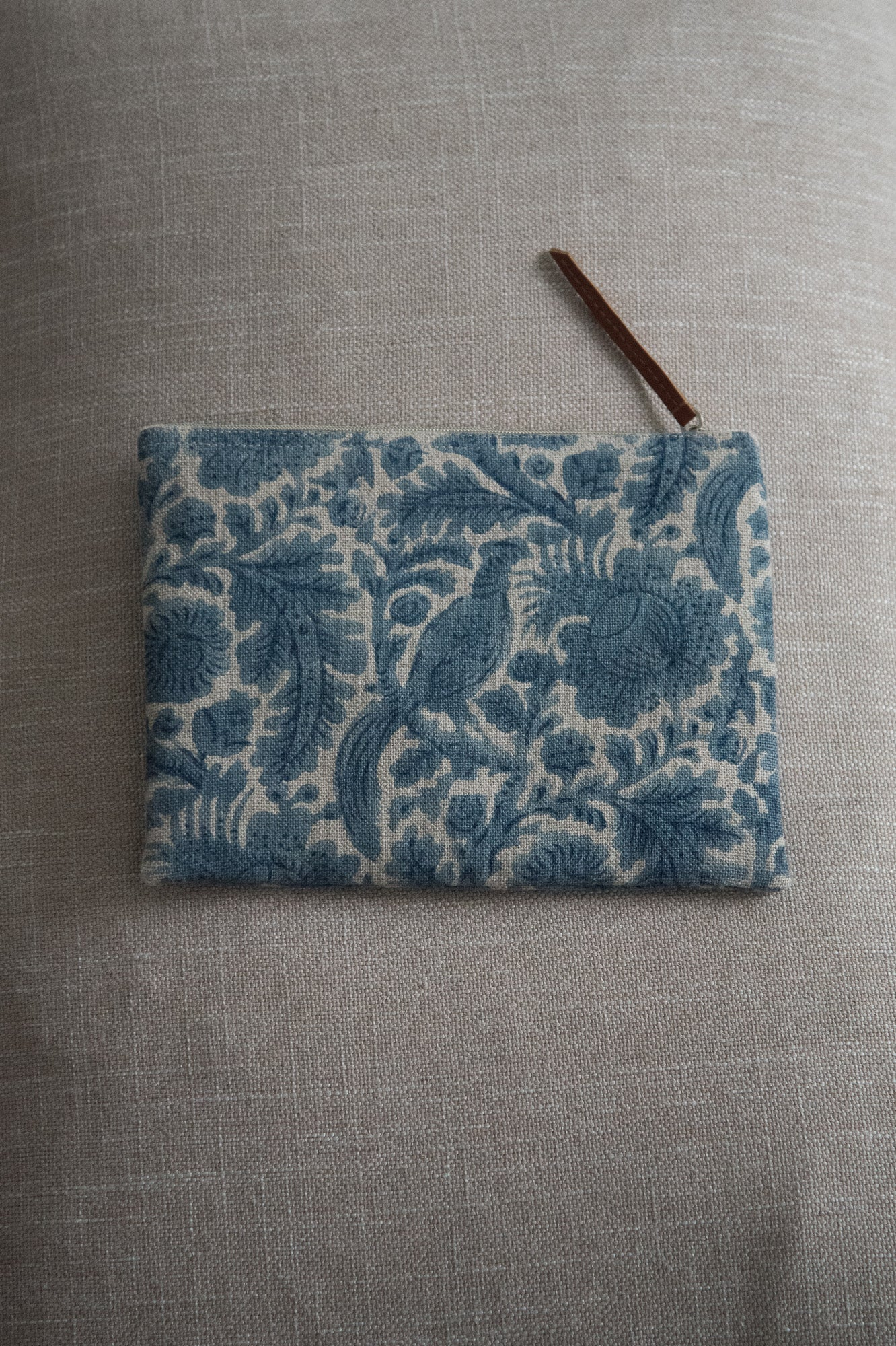 Linen Purse Peacock Blue