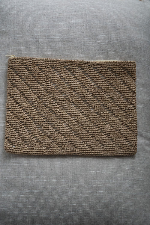 Natural Woven Large Clutch