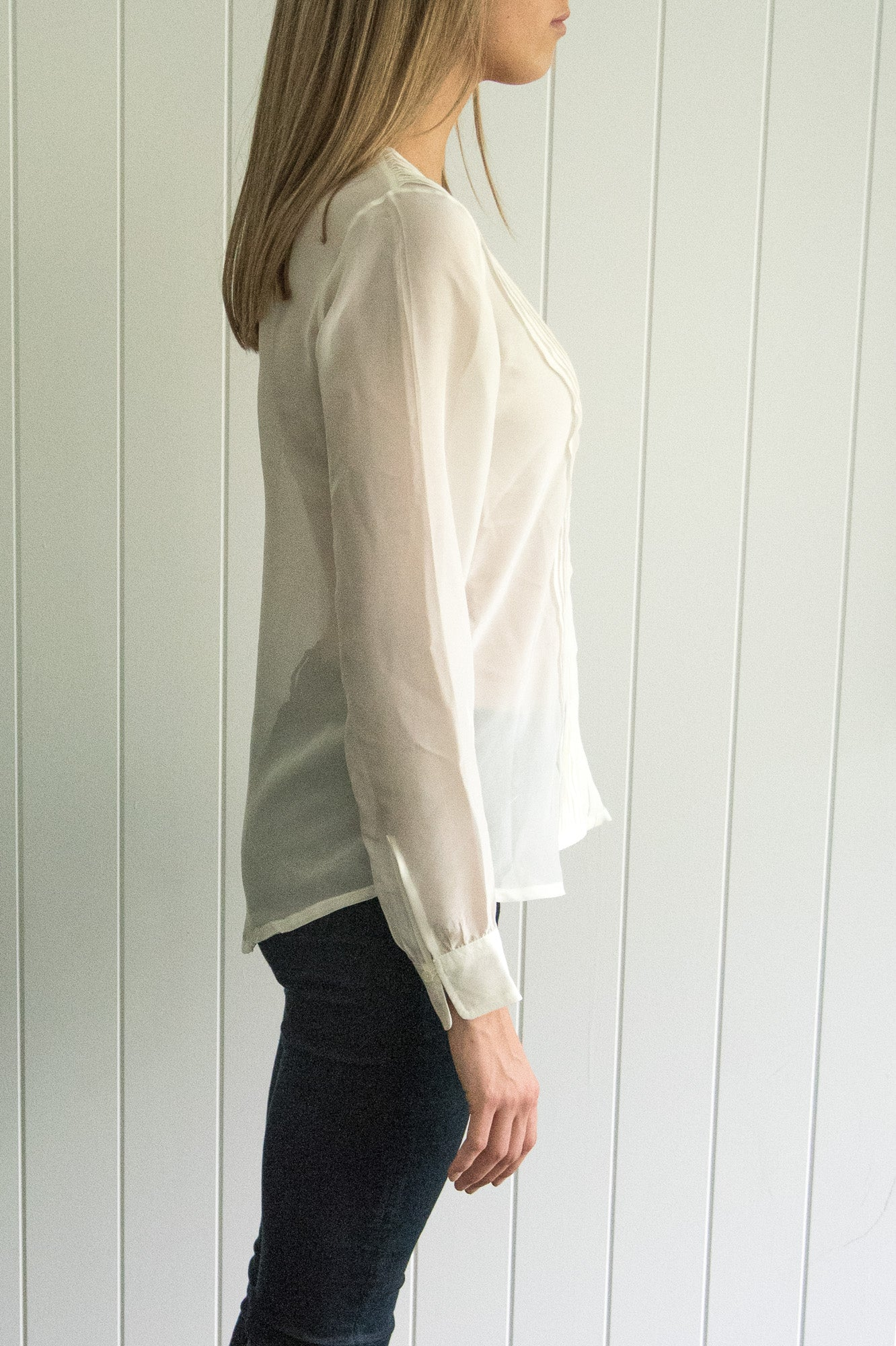 Classic Pleat Silk Chiffon Top, Cream
