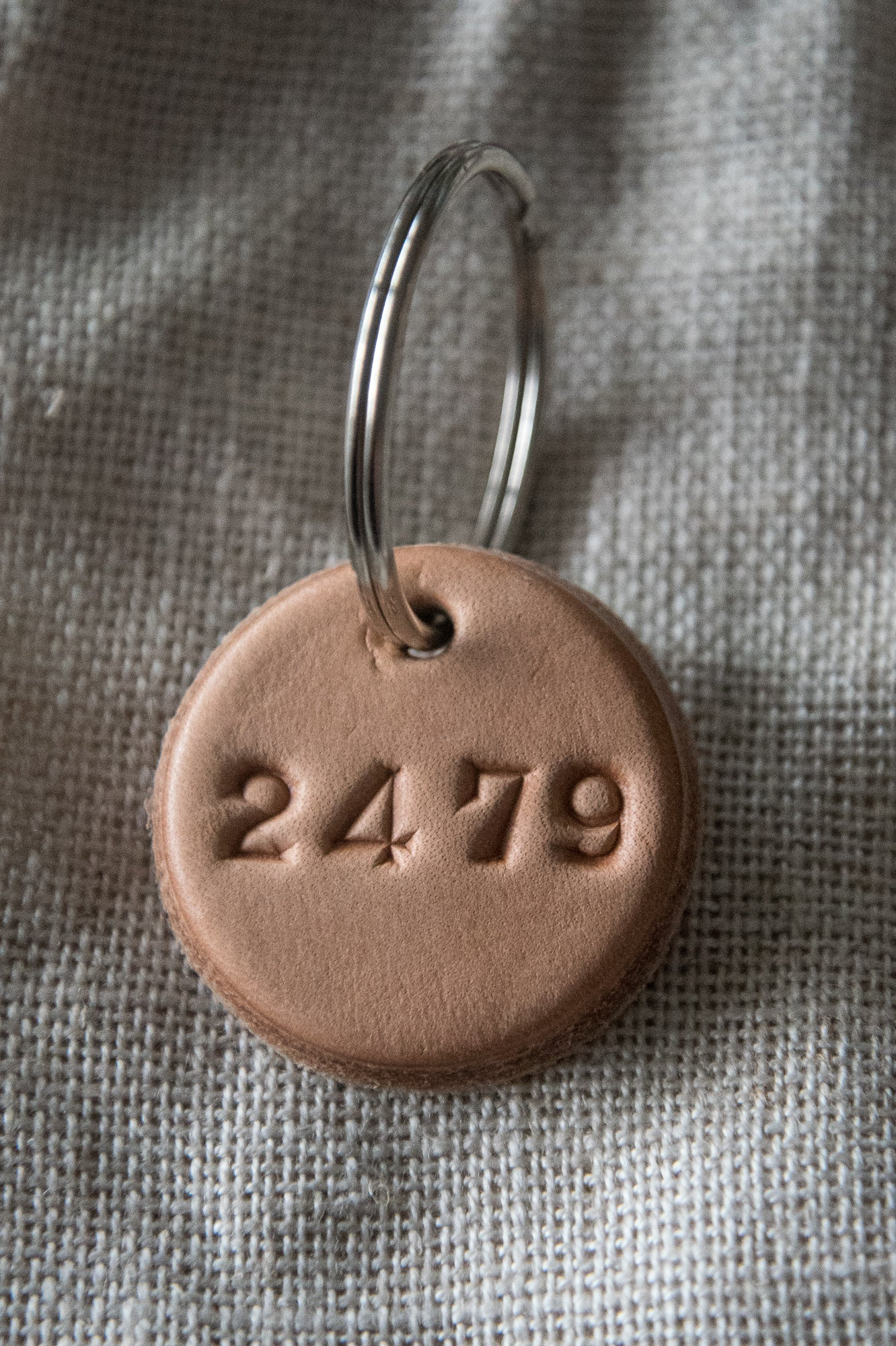 Round Leather Key Ring