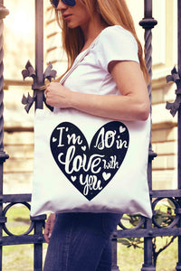 I Love You Heart Typography Tote Bag | Shopping - Dalia's Online Shop