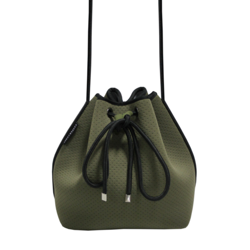 Drawstring Shoulder Bag / Khaki Green - Dalia's Online Shop