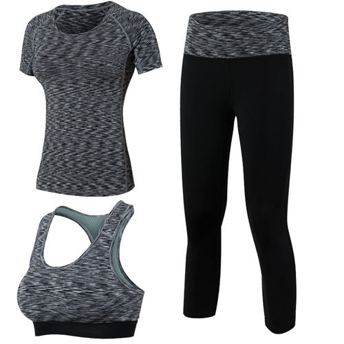 3 Pieces Women Fitness Yoga Set (T-Shirt & Bra & Cropped Trouser) - Dalia's Online Shop