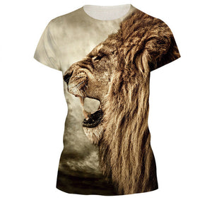 3D Fashion Lion Print T- Shirt For Women - Dalia's Online Shop
