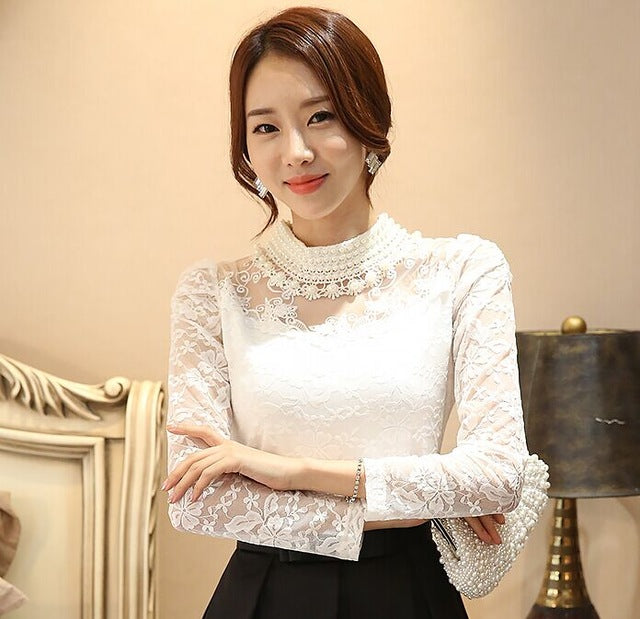 Elegant Long Sleeve Women Lace Blouse - Dalia's Online Shop