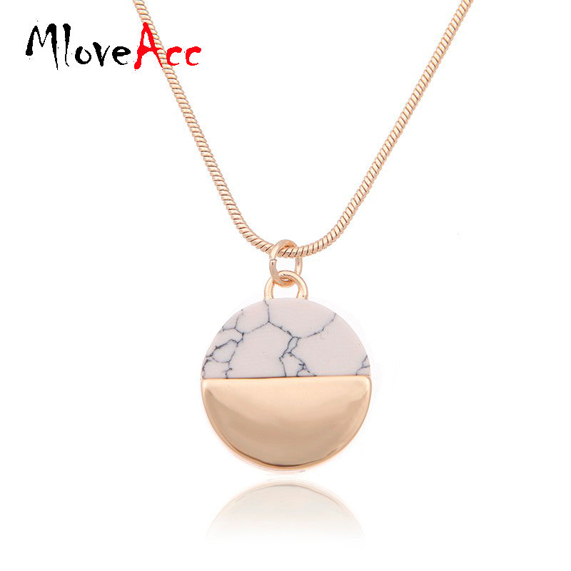 MloveAcc Brand High Quality Marbled Faux White/Black Stone Disc Necklace For Women - Dalia's Online Shop