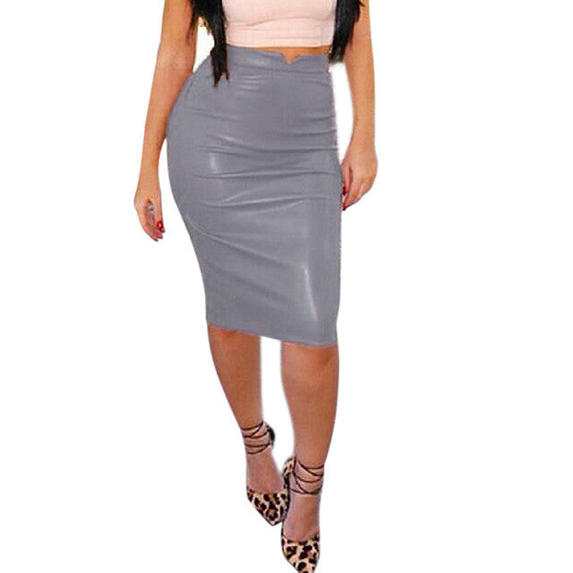 High Waist Classic Faux Leather Skirt - Dalia's Online Shop