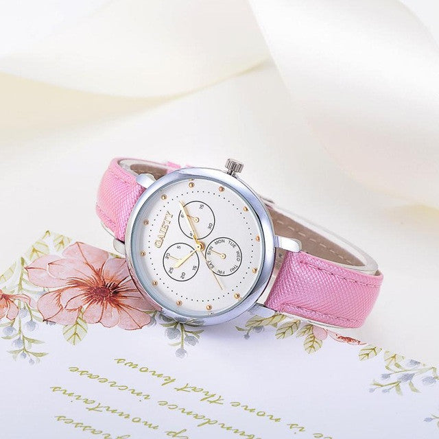 Women Fashion Quartz Watch With PU Leather - Dalia's Online Shop