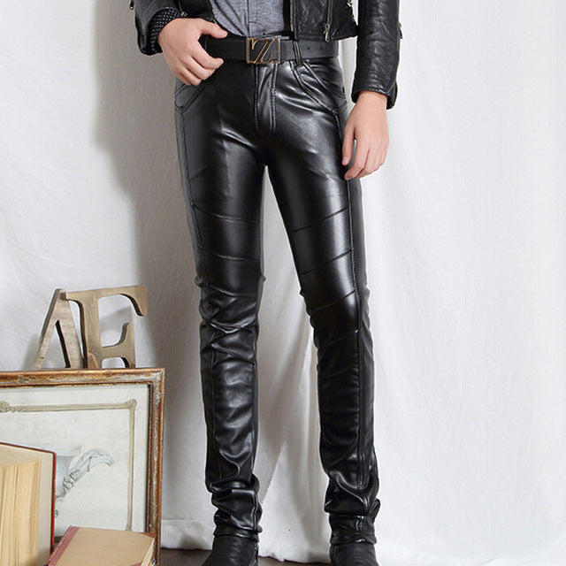 Men High Quality PU Leather Motorcycle Slim Fit Trousers - Dalia's Online Shop