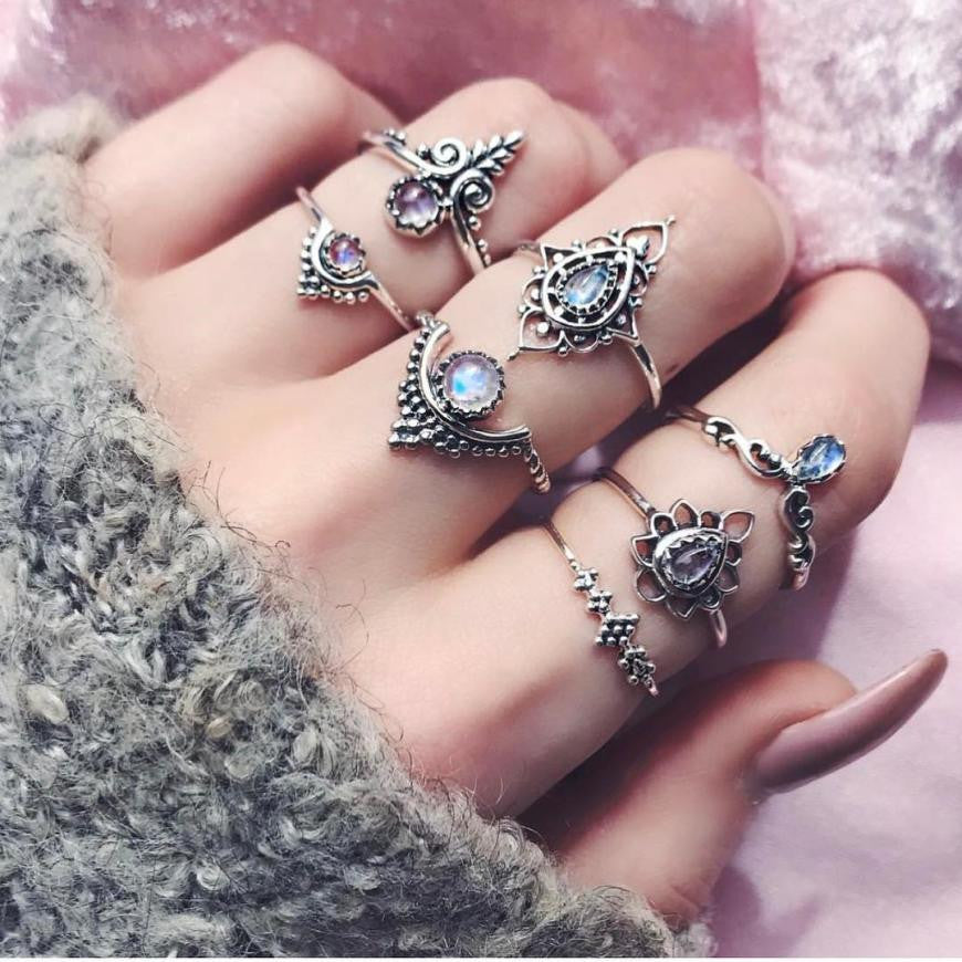 7 Pieces Set Women Girl Bohemian Vintage Silver Stack Rings - Dalia's Online Shop