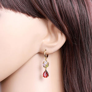 Women Popular Flower Water Droplets Zircon Pendant Earring - Dalia's Online Shop