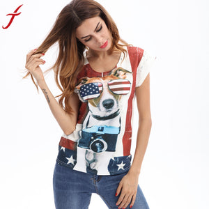 Women Funny Printed Dog Loose T-Shirt - Dalia's Online Shop
